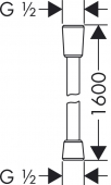 Hansgrohe Isiflex - Brauseschlauch 1,60 m schwarz Masszeichnung