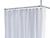 Keuco Plan - Shower Curtain stripes 14944 11 eyelets, truffle / white, 2000 x 2000 mm
