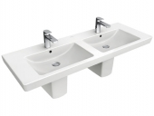 Villeroy & Boch Subway 2.0 - Double Washbasin for Furniture 1300x470mm with 2 tap holes with overflow white with CeramicPlus