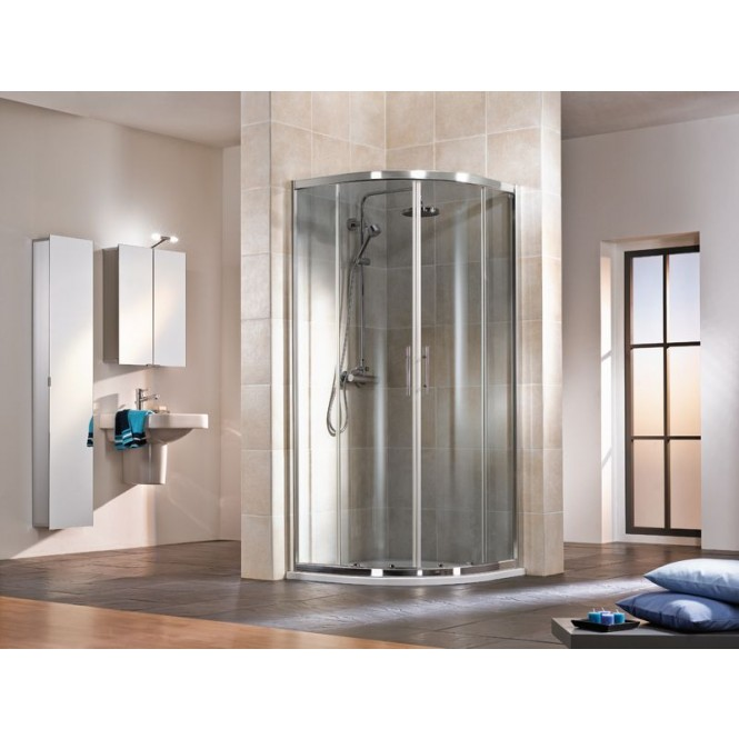 HSK - Circular shower, R550, 50 ESG clear bright 900/800 x 1850 mm, 01 Alu silver matt