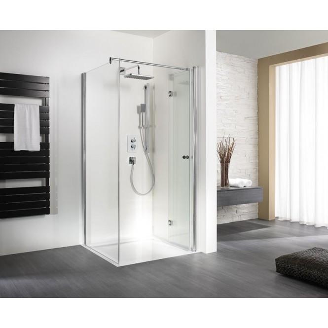 HSK - A folding hinged door for side panel, 01 aluminum matt silver custom-made, 100 Glasses art center