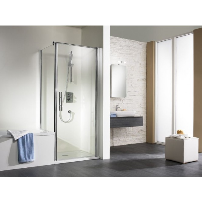HSK Exklusiv - Sidewall to revolving door, exclusive, 01 aluminum matt silver custom-made, 54 Chinchilla