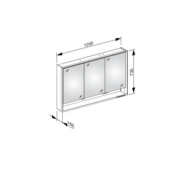 Keuco Royal Lumos Spiegelschrank Wandvorbau Silber Eloxiert 1200x735x165mm