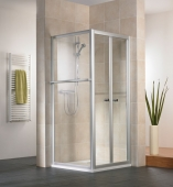 HSK - Folding door 2-piece, 50 ESG clear bright 750 x 1850 mm, 01 Alu silver matt