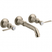 Axor Montreux - 3-Loch Waschtischarmatur Wand Fertigset Hebelgriff brushed nickel