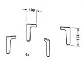 Duravit Happy D.2 - Sockelfüße Set 4 Stück chrom Masszeichnung