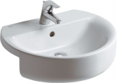 Ideal Standard Connect - Semi-recessed Washbasin for Furniture 550x465mm with 1 tap hole with overflow white with IdealPlus
