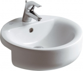 Ideal Standard Connect - Semi-recessed Washbasin for Furniture 450x450mm with 1 tap hole with overflow white with IdealPlus