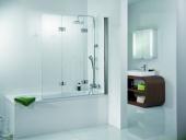 HSK - Bath screen 3-part, 41 chrome look custom-made, 54 Chinchilla