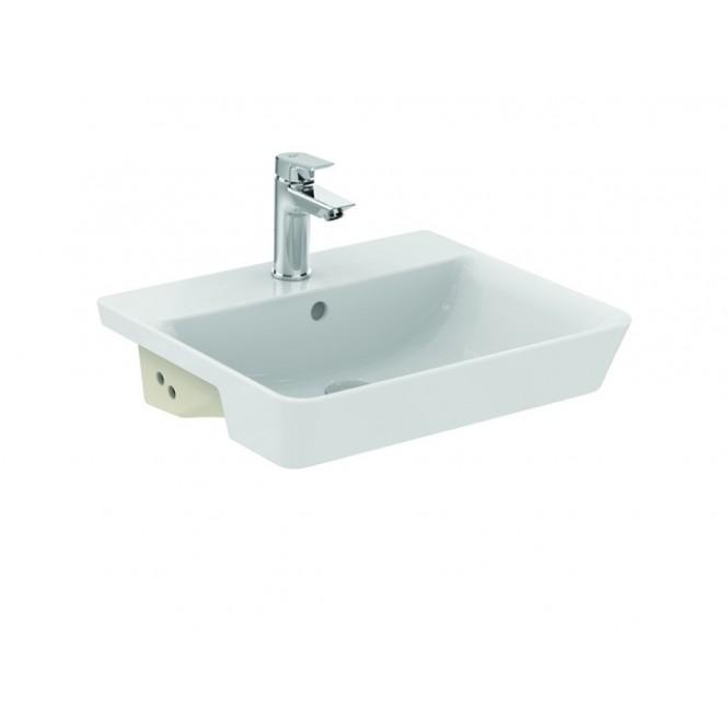 Ideal Standard Connect Air - Halbeinbauwaschtisch 500 x 440 x 160 mm mit Hahnloch und Überlauf weiß