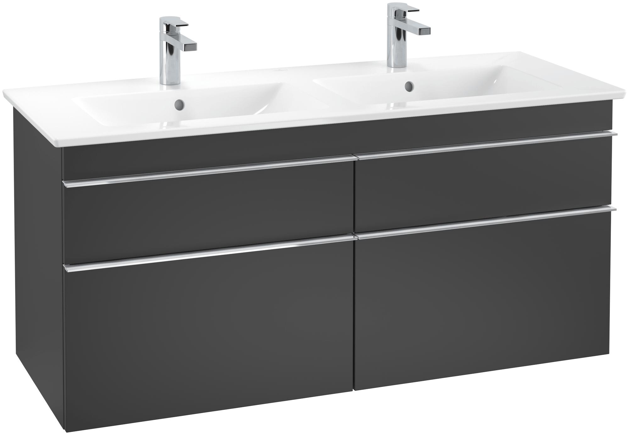 Villeroy boch venticello meuble sous lavabo 1253 avec 4 tiroirs noir mat xtwostore for Meuble sous lavabo noir