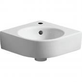 Geberit Renova Nr. 1 Comprimo - Eck-Handwaschbecken 320 mm mit Hahnloch mit Überlauf weiß