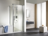 HSK - Porte pivotante pour panneau latéral, 01 Alu argent mat 900 x 1850 mm, 50 ESG lumineuse et claire