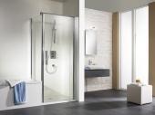 HSK Exklusiv - Flanc à la porte tournante, exclusive, 01 en aluminium argent mat sur mesure, 50 ESG clair et lumineux