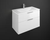 Burgbad Eqio - Waschtischunterschrank mit Beleuchtung und 2 Auszügen und Mineralguss-Waschtisch
