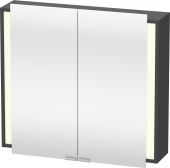 Duravit Ketho - Armoire de toilette 800 x 750 x 180 mm avec 2 portes miroir & 2 étagères en verre miroir