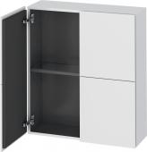 Duravit L-Cube - Armoire mi-haute 700 x 800 x 243 mm avec 2 portes & 1 étagère en verre blanc mat
