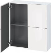 Duravit L-Cube - Armoire mi-haute 700 x 800 x 243 mm avec 2 portes & 1 étagère en verre blanc brillant