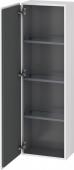 Duravit L-Cube - Armoire mi-haute 400 x 1320 x 243 mm avec 1 porte & 3 étagères en verre & charnières de portes à gauche blanc brillant