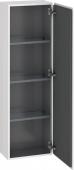 Duravit L-Cube - Armoire mi-haute 400 x 1320 x 243 mm avec 1 porte & 3 étagères en verre & charnières de portes à droite blanc brillant