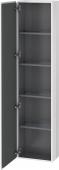 Duravit L-Cube - Armoire 400 x 1760 x 243 mm avec 1 porte & 4 étagères en verre & charnières de portes à gauche blanc brillant