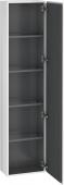 Duravit L-Cube - Armoire 400 x 1760 x 243 mm avec 1 porte & 4 étagères en verre & charnières de portes à droite blanc mat
