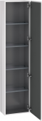 Duravit L-Cube - Armoire 400 x 1760 x 243 mm avec 1 porte & 4 étagères en verre & charnières de portes à droite blanc brillant
