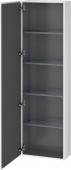 Duravit L-Cube - Armoire 500 x 1760 x 243 mm avec 1 porte & 4 étagères en verre & charnières de portes à gauche blanc brillant