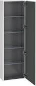 Duravit L-Cube - Armoire 500 x 1760 x 243 mm avec 1 porte & 4 étagères en verre & charnières de portes à droite blanc brillant