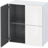 Duravit L-Cube - Armoire mi-haute 700 x 800 x 363 mm avec 2 portes & 1 étagère en verre blanc brillant