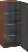 Duravit L-Cube - Armoire mi-haute 500 x 1320 x 363 mm avec 1 porte & 3 étagères en verre & charnières de portes à droite noyer américain placage bois