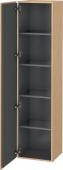 Duravit L-Cube - Armoire 400 x 1760 x 363 mm avec 1 porte & 4 étagères en verre & charnières de portes à gauche chêne brossé placage bois