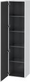 Duravit L-Cube - Armoire 400 x 1760 x 363 mm avec 1 porte & 4 étagères en verre & charnières de portes à gauche blanc mat