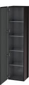 Duravit L-Cube - Armoire 400 x 1760 x 363 mm avec 1 porte & 4 étagères en verre & charnières de portes à gauche noir brillant