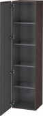 Duravit L-Cube - Armoire 400 x 1760 x 363 mm avec 1 porte & 4 étagères en verre & charnières de portes à gauche chêne foncé brossé placage bois