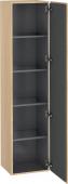 Duravit L-Cube - Armoire 400 x 1760 x 363 mm avec 1 porte & 4 étagères en verre & charnières de portes à droite chêne méditerranéen placage bois