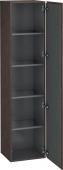 Duravit L-Cube - Armoire 400 x 1760 x 363 mm avec 1 porte & 4 étagères en verre & charnières de portes à droite chêne foncé brossé placage bois