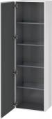 Duravit L-Cube - Armoire 500 x 1760 x 363 mm avec 1 porte & 4 étagères en verre & charnières de portes à gauche blanc brillant