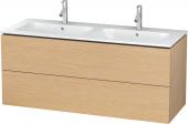 Duravit L-Cube - Meuble sous-vasque 1290 x 550 x 481 mm avec 2 tiroirs chêne brossé placage bois