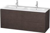 Duravit L-Cube - Meuble sous-vasque 1290 x 550 x 481 mm avec 4 tiroirs chêne foncé brossé placage bois