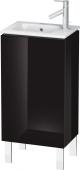 Duravit L-Cube - Meuble sous-vasque 420 x 704 x 294 mm avec 1 porte & charnières de portes à gauche noir brillant