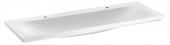 Keuco Royal Reflex - Lavabo double pour meuble 1300x490mm avec 2 trous de robinetterie sans trop-plein  blanc sans revêtement