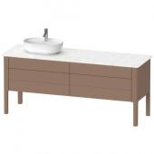 DURAVIT Luv - Meuble sous lavabo pour plan de toilette avec 4 tiroirs & 1 découpe pour lavabo à gauche 1733x743x570mm amande soyeuse mat/amande satiné mat