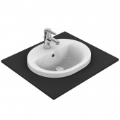 Ideal Standard Connect - Vasque à encastrer par le dessus pour meuble 480x400mm avec 1 trou de robinetterie avec trop-plein blanc sans IdealPlus