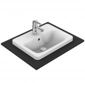 Ideal Standard Connect - Vasque à encastrer par le dessus pour meuble 500x390mm avec 1 trou de robinetterie avec trop-plein blanc avec IdealPlus