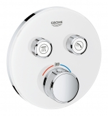 Grohe Grohtherm SmartControl - Thermostat rund 2 Absperrventile moon white