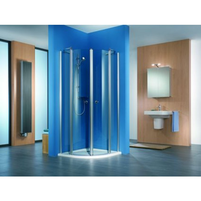 HSK - Circular shower quadrant, 4-piece, 41 x 1850 mm chrome look 1200/900, 100 Glasses art center