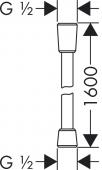 Hansgrohe Isiflex - Brauseschlauch 1,60 m blau Masszeichnung