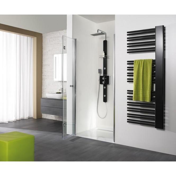 HSK - Un pliage articulé niche de porte, 01 Alu argent mat 750 x 1850 mm, 50 ESG lumineuse et claire