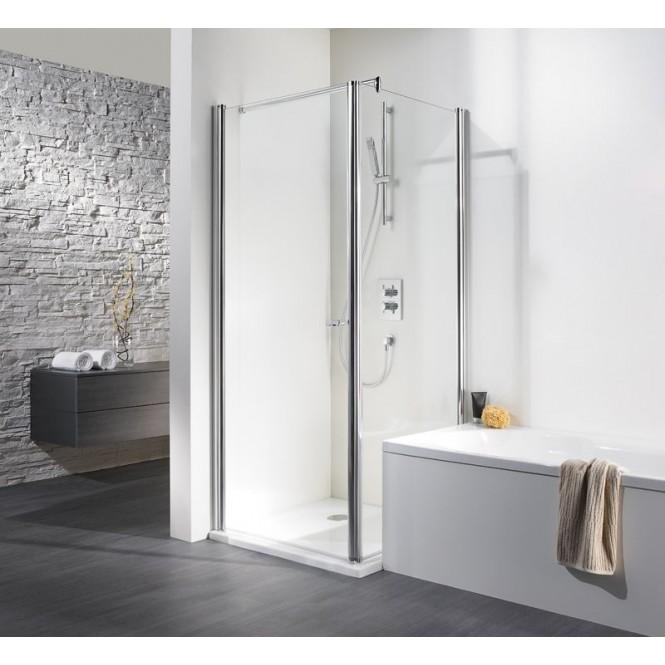 HSK - Paroi latérale escamotable pour porte tournante, argent mat, 100 Lunettes centre d'art sur mesure en aluminium 01